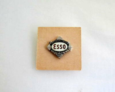 Vintage ESSO Gas Oil Co Sterling Tie Lapel Pin Exxon Safe Driving Award 4 Years