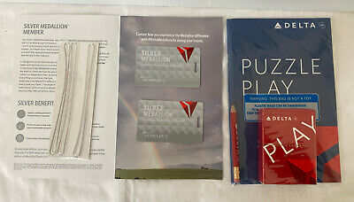 LOT of 2 Delta Silver Medallion Status Luggage Tags, Delta Cards & Puzzle~NEW