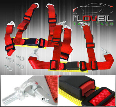 For Mini X2 2 Inch 4-Pt Shoulder Quick Release Harness Seat Belt Road Race Red