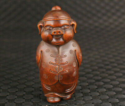 chinese old boxwood handmade lovely pig figure statue hand piece Home deco