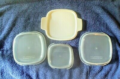 Vtg CorningWare Lids P-41-Clear Plastic~ A-1-PC-Three Plastic ~Total Of Four GUC
