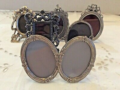 6 Vintage Silver Small Picture Frames LOT Victorian Style