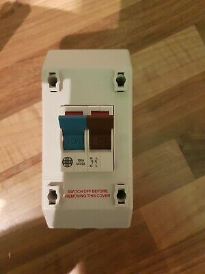 2 Wylex REC2S  100A 100 Amp 2 Pole Isolator & Enclosure Blue and brown switches