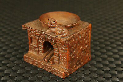 chinese rare boxwood hand carving tradition cat cooking bench statue