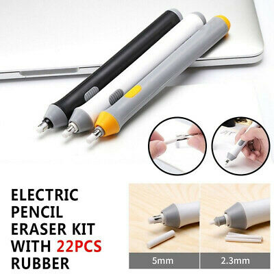 Electric Pencil Eraser Kit with 22pcs Rubber Refills Highlights Sketch DrawiH Be