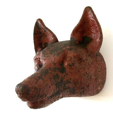 Antique Heavy Cast Iron Red Fox Head Door Stop Decorative Display