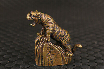 chinese old bronze hand carving up tiger statue collectable figure noble gift