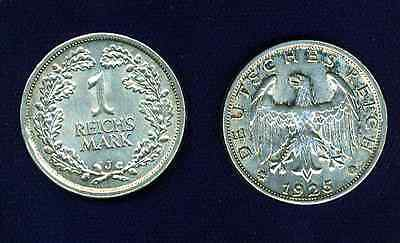 Germany  Weimar Republic  1925-J   1 Mark Coin,  Almost Uncirculated+