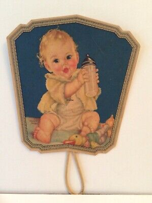 Vintage  Advertising Hand Fan Charlotte Becker Baby with Bottle