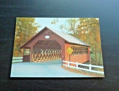 "Postcard Vintage Covered Bridge 4"" X 6"" Creamery Bridge Brattleboro Vermont"