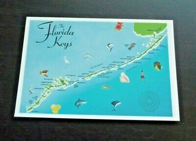 "Postcard Vintage Aerial Florida Keys 4"" X 6"" Blue Water Pub 1995"