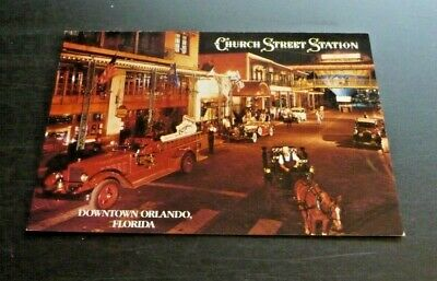 "Postcard Vintage Church Street Station 4"" X 6"" Downtown Orlando Horse Carriage"