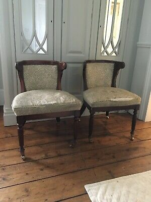 Beautiful PAIR Mahogany Framed Upholstered William IV Style Library Chairs x 2