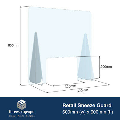 Checkout Sneeze Guard Counter Cough Screen Clear Acrylic Plastic Virus Shield