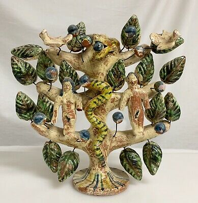 Vintage Mexican Pottery Tree of Life Adam & Eve Folk Art Candelabra  -  59713