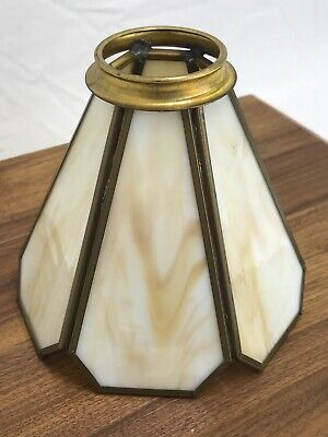"Antique Vtg Stained Slag Glass Lamp Shade Caramel 6 Panel 2 1/8"" Fitter, Bridge"
