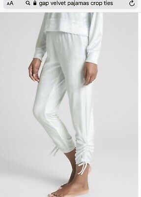 LOVE BY GAP WHITE/Light BLUE PAJAMA LOUNGE PANTS Medium and HOODIE Small Velour