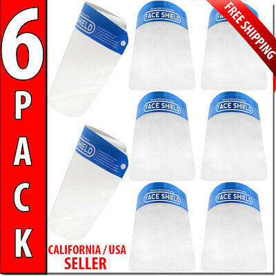 Safety Full Face Shield Protection Face 6 Pack Reusable Mask Anti Fog Anti Fog