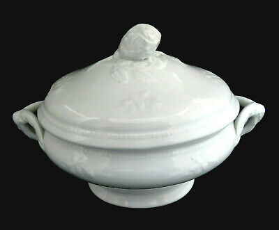 Antique White Ironstone Sauce Gravy Tureen w/ Rose Finial