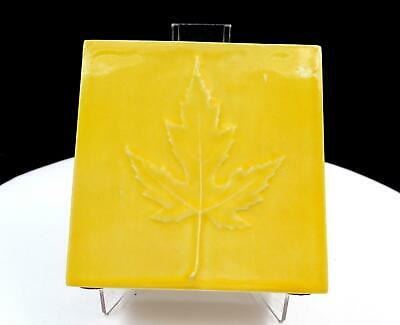 "Canadian Art Pottery Square Yellow Embossed Maple Leaf 4 1/8"" Vase"