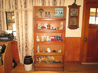 Antique Oak 5 Section Bookcase With Base - Globe Wernicke.
