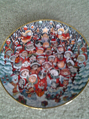 BILL BELL SANTA CLAUS FRANKLIN MINT retired CAT COLLECTOR CHRISTMAS PLATE