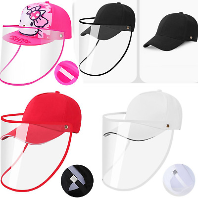 Unisex Detachable Face Shield Anti Saliva Visor Hat Baseball Cap Protector Cover