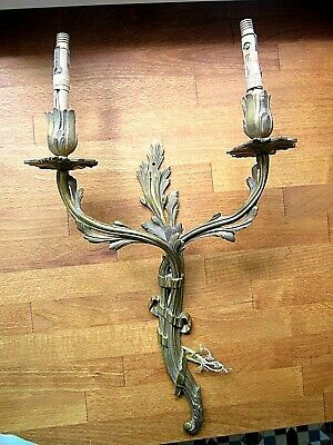 Original Vintage French Solid Bronze Rococo Double Wall Light Candle Sconce 1/3