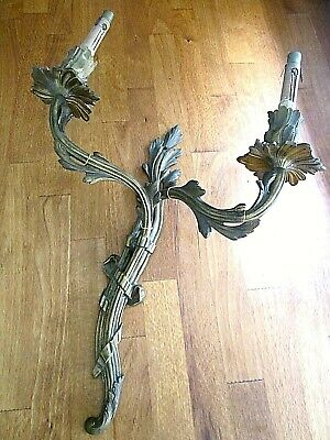 Original Vintage French Solid Bronze Rococo Double Wall Light Candle Sconce 2/3