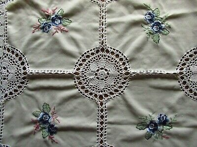 Crochet edged Tablecloth Embroidered Embellished Runner Doily Handmade Vintage