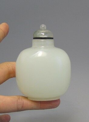 Antique Chinese White Peking Glass Snuff Bottle, 1900's - Simulated Jade