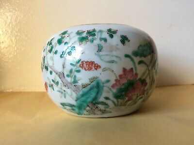 Antique Chinese Pictorial Porcelain Potpourri With Bronze Lid Signed