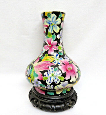 Signed Antique Chinese Porcelain Millefleur 1000 Flowers Vase w/ Stand