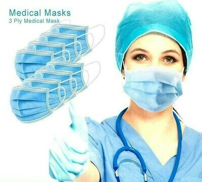 10xDisposable FACE MASK Surgical 3 Ply Earloop Medical Mask Anti-virus&Bacterial