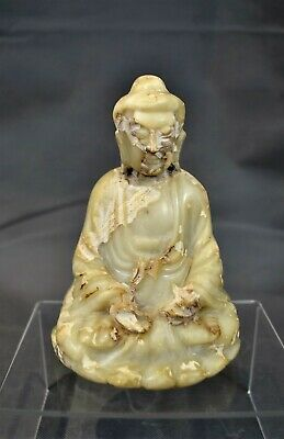 Antique Chinese Oriental Carved Stone Buddha Figurine Statue