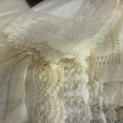 8 Antique Bridal Linen LACE Hanky LOT Hankies Vintage Wedding Embroidered OLD