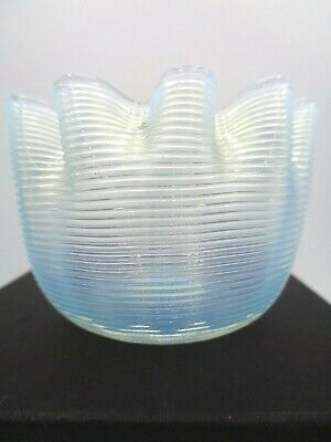 """Stunning Blue Opalescent Glass Ribbed crimped edge Jar Votive 2""""H x 3""""W"""