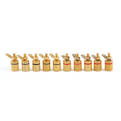 10 Pcs Gold Plated Binding Post Amplifier Speaker Audio Connector Terminal S