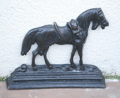 Antique Cast Iron Door Stop Book End Horse Equestrian themed Victorian Item