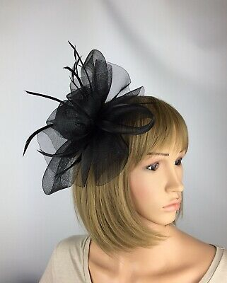 Black Fascinator Funeral Wedding Hatinator Mother Of The Bride Ascot Races Bow