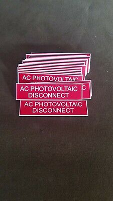 "Engraved Plastic Electrical Pastian Labels AC Photovoltaic  .75"" x 3"" Self Adh."