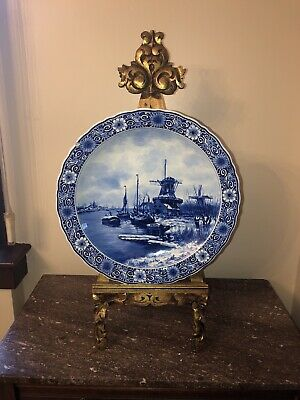 "Antique Royal Delft Porceleyne Fles Wall Plate Signed Naar Apol#9742 ""Saw Mill"""