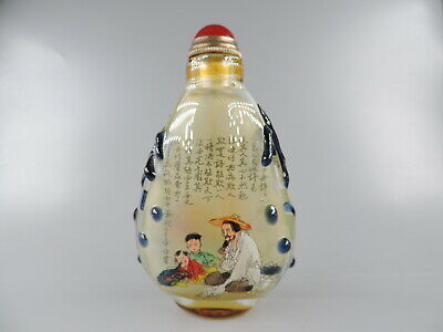 Chinese Inside Painted Figure Design Peking Glass Snuff Bottle Copper Spoon