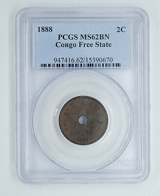 PCGS MS62 1888 Congo Free State 2 Cents