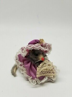 """Fur Toy Mice mouse Victorian dress  West Germany Miniature 2"""" tall"""