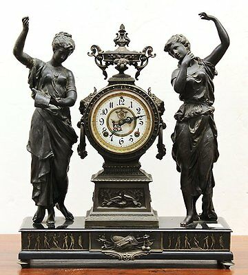 Antique Ansonia figural Figurural double statue Bronze finish/Iron Mantel Clock
