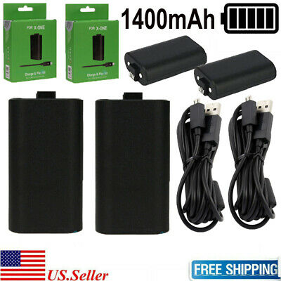 2X For Xbox One Rechargeable 1400mAh Battery Pack Wireless Controller +USB Cable