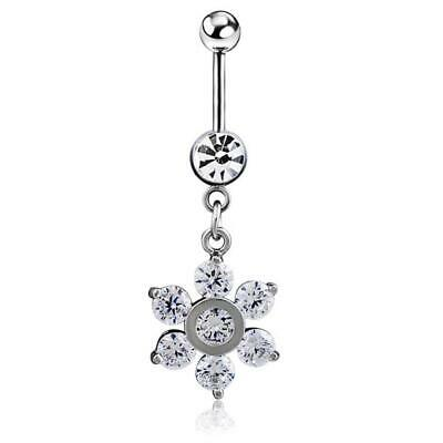 Crystal Gem Flower Belly Bar Navel Piercing Jewelry Surgical Steel with CZ Gems