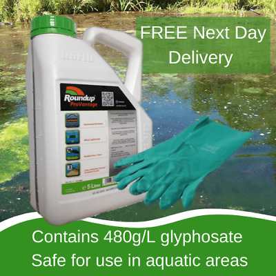 5L Roundup Pro Vantage 480 Strong Weed Killer With Free Gloves Weeds