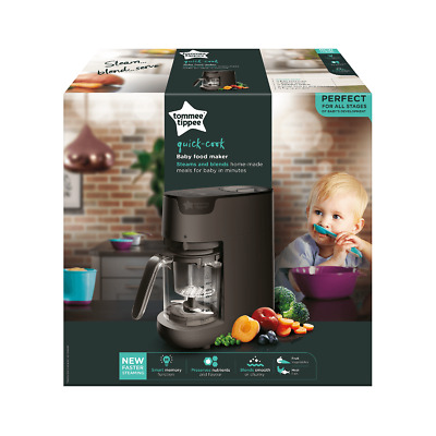 Tommee Tippee Quick Cook Baby Food Maker - Steam & Blends - Black